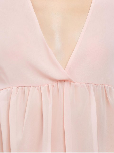 fashion Plunging Neck High-Low Sheer Blouse - PINK S Mobile