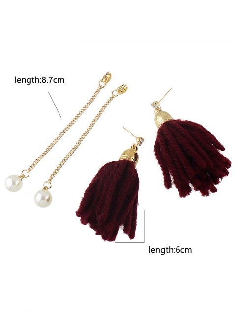 fashion Faux Pearl Rhinestone Tassel Earrings - RED  Mobile