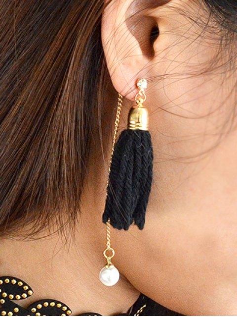 chic Faux Pearl Rhinestone Tassel Earrings -   Mobile