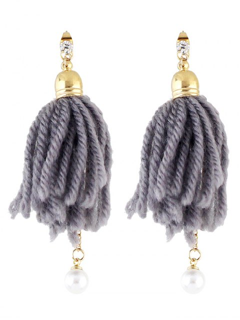 fancy Faux Pearl Rhinestone Tassel Earrings -   Mobile