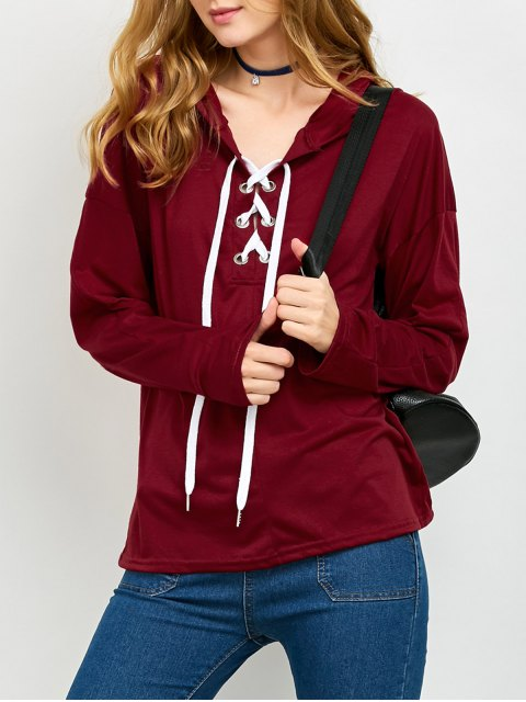 sale Long Sleeve Lace Up Hooded T Shirt - RED XL Mobile