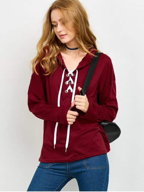 womens Long Sleeve Lace Up Hooded T Shirt - RED S Mobile