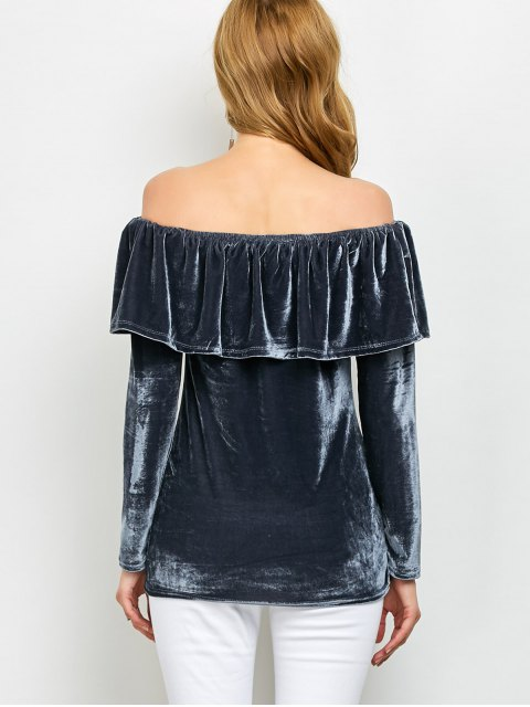 chic Velvet Off Shoulder Ruffles T-Shirt - GRAY S Mobile