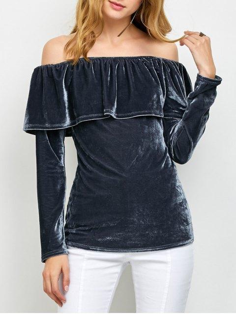 latest Velvet Off Shoulder Ruffles T-Shirt - GRAY XL Mobile