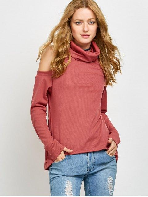 sale Cold Shoulder Turtle Neck Knitwear - RED M Mobile