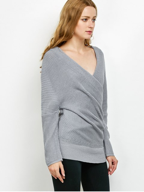 fancy Wrap Front Sweater - GRAY ONE SIZE Mobile