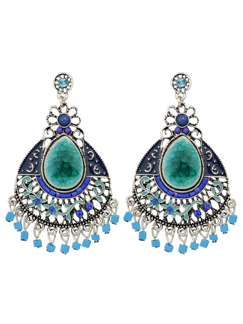 affordable Rhinestone Faux Gem Flower Teardrop Earrings - BLUE  Mobile