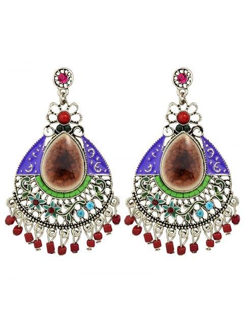 buy Rhinestone Faux Gem Flower Teardrop Earrings - COFFEE  Mobile