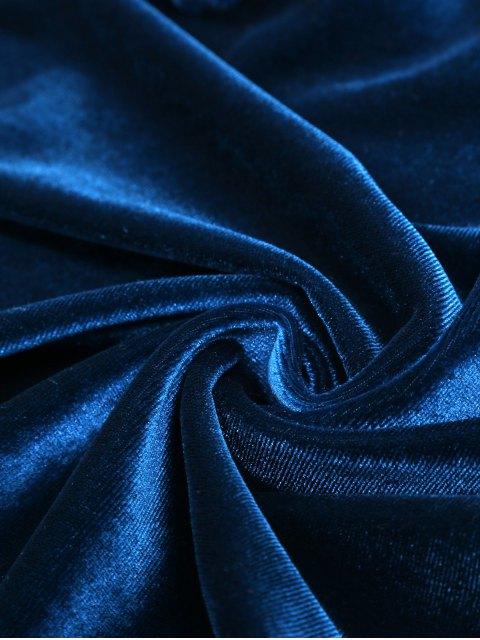 best Long Sleeve Velvet Wrap Top - CADETBLUE L Mobile