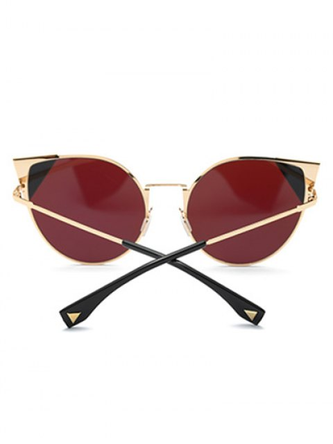 women Triangle Insert Cat Eye Mirrored Sunglasses - PINKISH PURPLE  Mobile