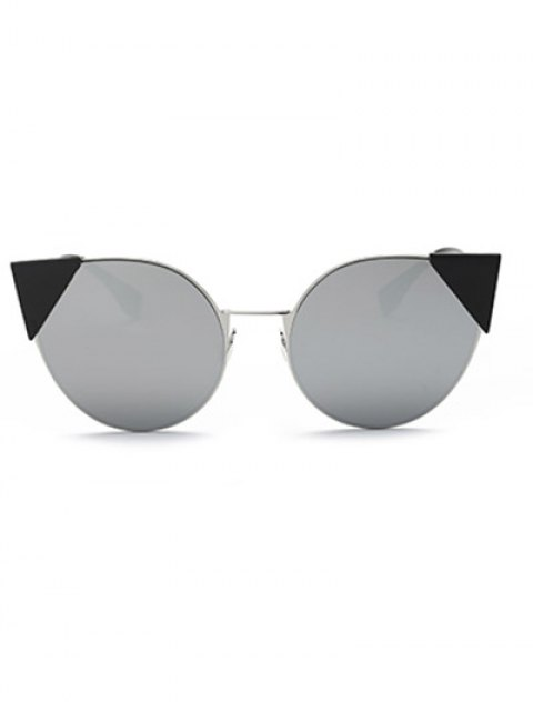 women's Triangle Insert Cat Eye Mirrored Sunglasses - SILVER  Mobile