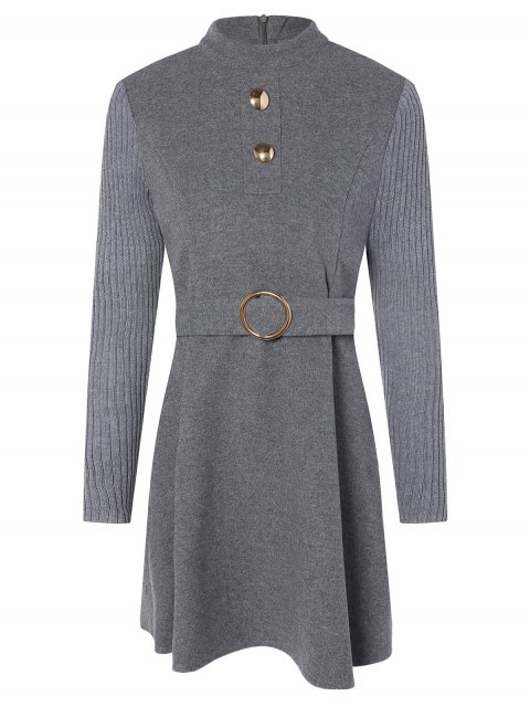 buy Stand Neck Wool Blend A Line Dress - GRAY L Mobile