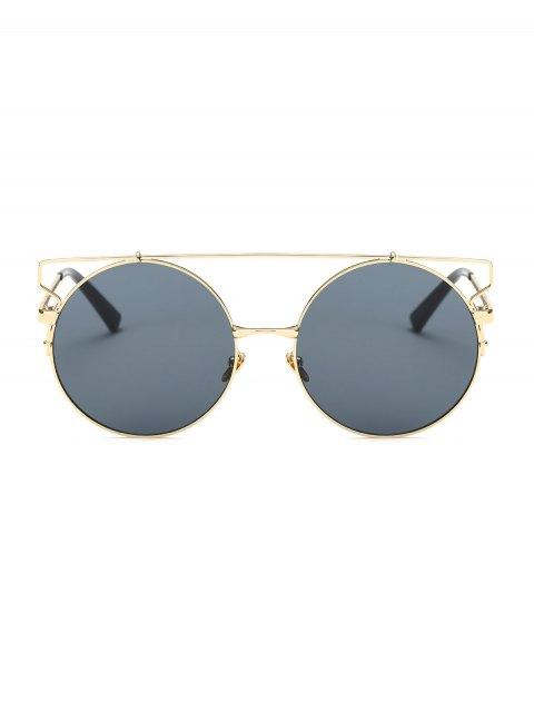 lady Cross Bar Round Sunglasses - GOLDEN  Mobile
