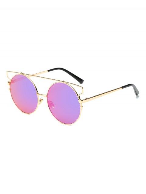 best Cross Bar Round Mirrored Sunglasses - PINKISH PURPLE  Mobile