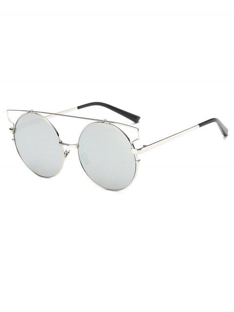 online Cross Bar Round Mirrored Sunglasses -   Mobile