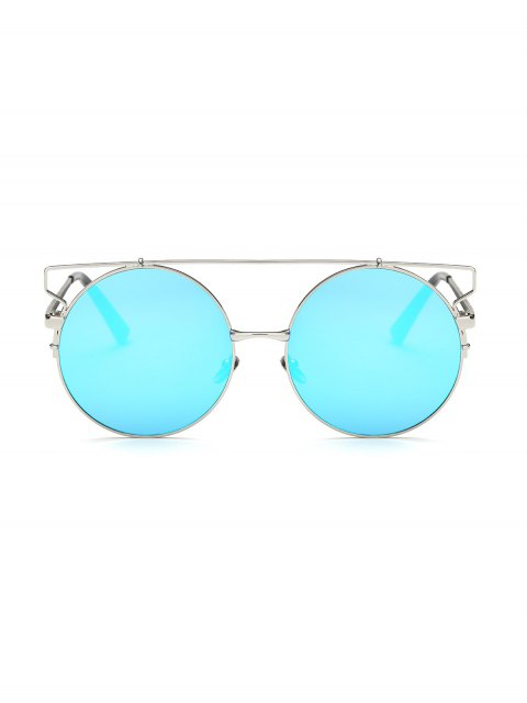 new Cross Bar Round Mirrored Sunglasses - ICE BLUE  Mobile