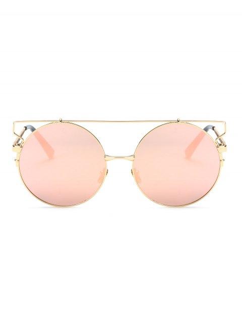 hot Cross Bar Round Mirrored Sunglasses - PINK  Mobile