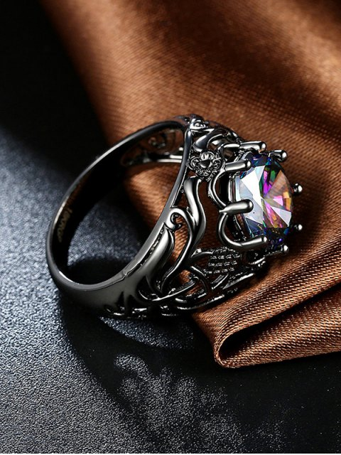womens Rhinestone Flower Hollowed Ring - GUN METAL 8 Mobile
