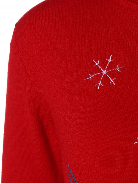 women's Crew Neck Christmas Pullover Sweater - RED ONE SIZE Mobile