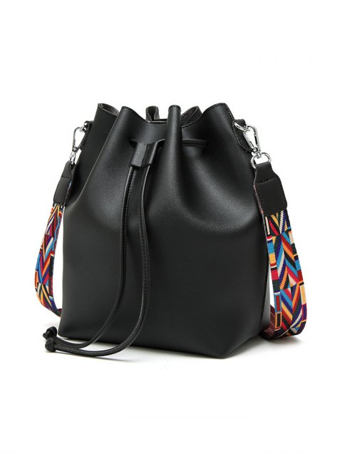 women's Drawstring Bucket Bag With Coin Purse - BLACK  Mobile