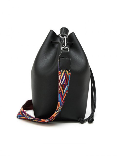 ladies Drawstring Bucket Bag With Coin Purse - WINE RED  Mobile