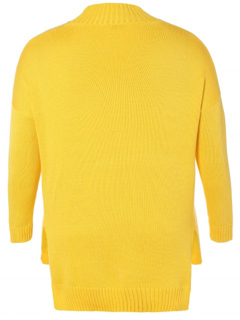 trendy Funnel Neck Plus Size High Low Sweater - YELLOW XL Mobile