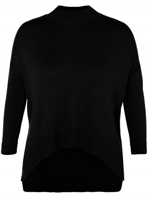 chic Funnel Neck Plus Size High Low Sweater - BLACK 2XL Mobile
