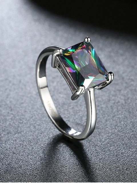 lady Geometric Artificial Zircon Ring - SILVER 7 Mobile