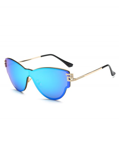 shop Butterfly Wrap Mirrored Sunglasses - ICE BLUE  Mobile