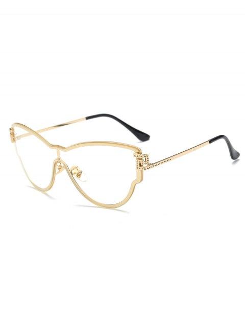 trendy Transparent Lens Butterfly Wrap Sunglasses - GOLDEN  Mobile