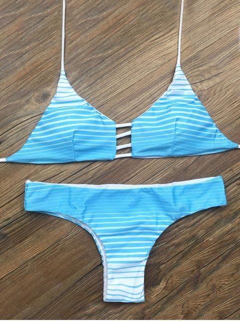 shop Halter Cutout Striped Bikini Set - BLUE XL Mobile
