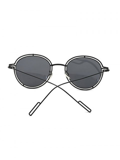 fashion Double Rims Metal Oval Sunglasses -   Mobile
