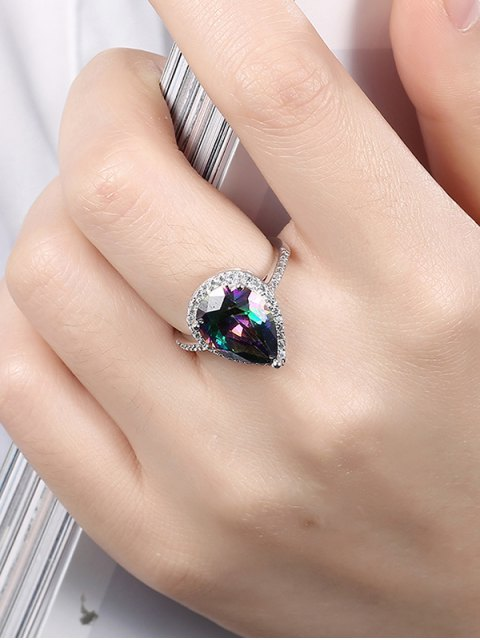 shop Teardrop Rhinestone Ring - SILVER 6 Mobile