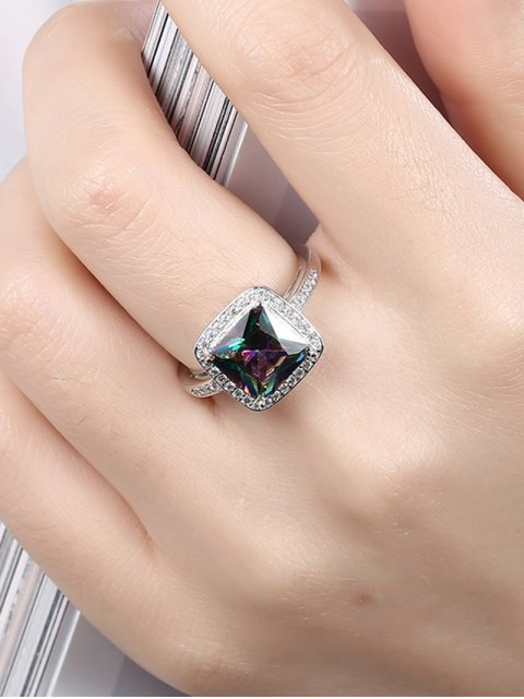 shops Square Rhinestone Ring - SILVER 8 Mobile