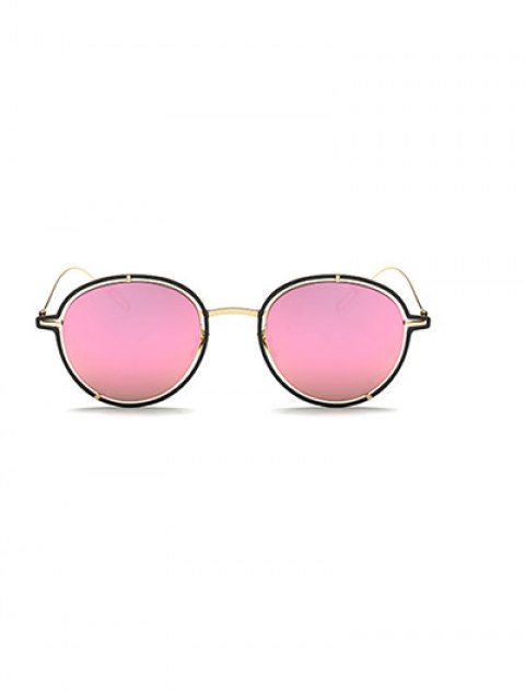 sale Double Rims Metal Oval Mirrored Sunglasses - PINK  Mobile