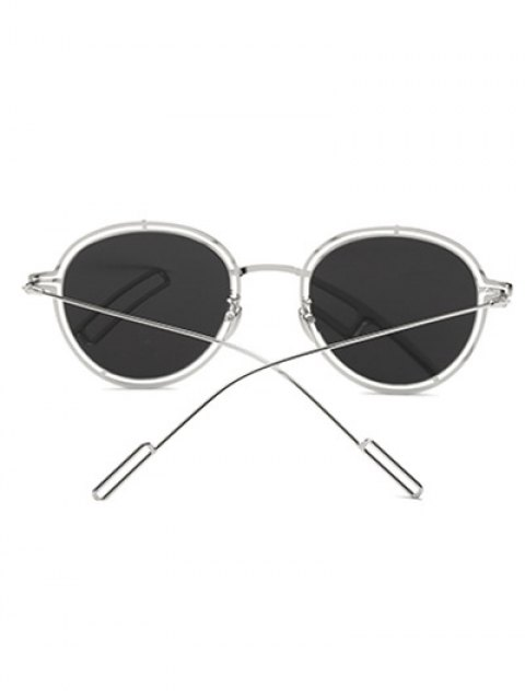 affordable Double Rims Metal Oval Mirrored Sunglasses -   Mobile