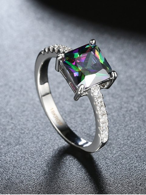 chic Artificial Gem Rhinestone Square Ring - SILVER 7 Mobile