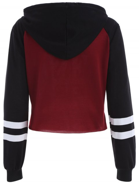 latest Raw Cut Raglan Sleeve Cropped Hoodie - RED WITH BLACK S Mobile