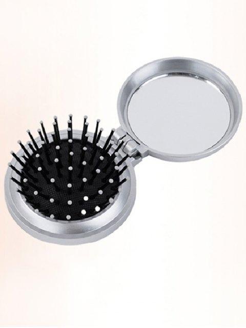 trendy Portable Hair Massage Comb with Mirror - SILVER  Mobile