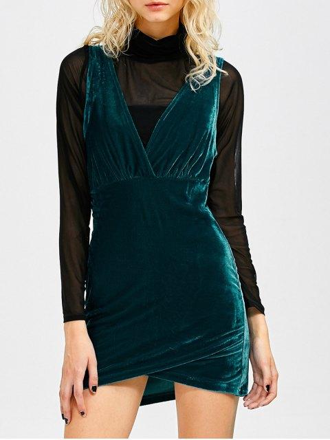 fancy Sleeveless Velvet Mini Dress - PEACOCK BLUE S Mobile