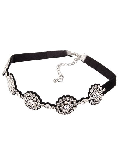 Faux Leather Rhinestoned Choker - WHITE  Mobile