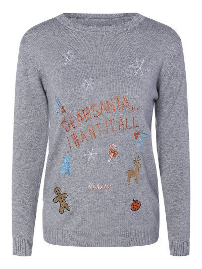 Crew Neck Christmas Sweater - GRAY ONE SIZE Mobile
