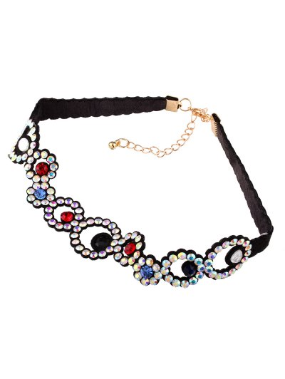 Rhinestoned Floral Choker Necklace - COLORFUL  Mobile