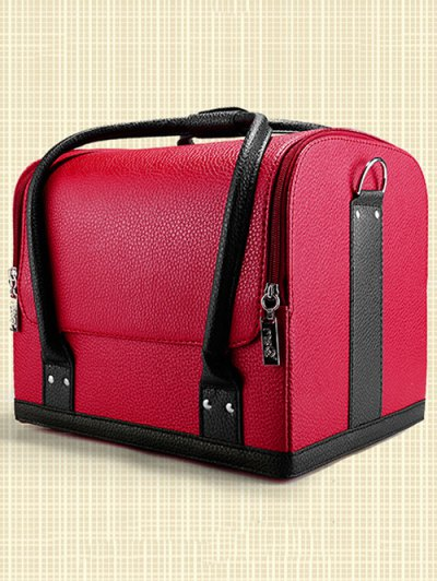 Waterproof Faux Leather Makeup Case - RED  Mobile