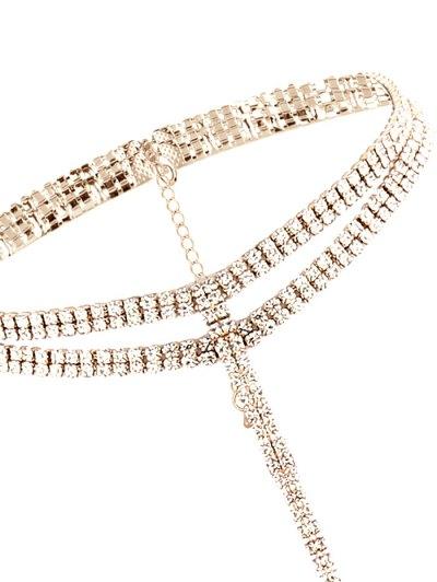 Tassel Fake Crystal Choker Necklace - GOLDEN  Mobile