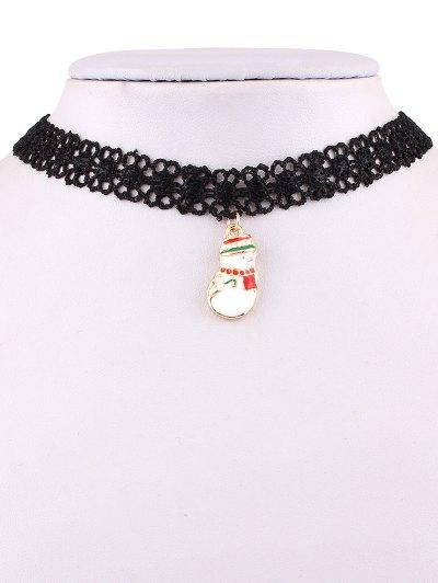 Christmas Snowman Lace Weave Necklace - BLACK  Mobile