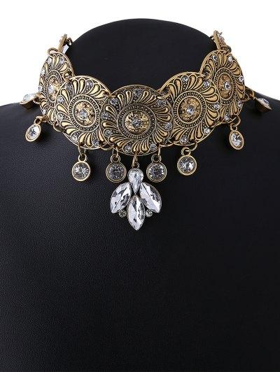 Faux Crystal Flower Choker Necklace - GOLDEN  Mobile
