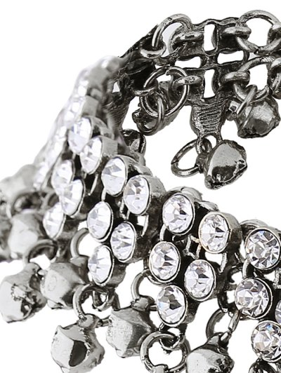 Jingle Bell Tassel Faux Crystal Necklace - SILVER  Mobile