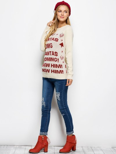 Letter Crew Neck Christmas Pullover Sweater - PALOMINO XL Mobile