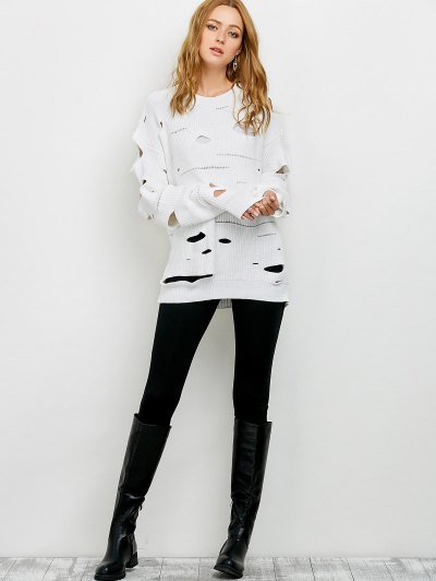 Cut Out Crew Neck Sweater - WHITE M Mobile
